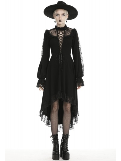 Dark in Love Black Vintage Gothic Sexy Long Sleeve High-low Party Dress