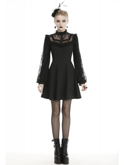 Dark in Love Black Cute Gothic Lace Long Lantern Sleeve Short Daily Wear Dress