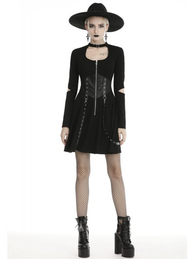 Dark in Love Black Gothic Punk Long Sleeve Short Casual Dress with Detachable Belt