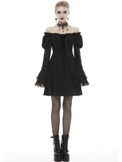 Dark in Love Black Gothic Princess Off-the-Shoulder Long Sleeve Short Party Dress