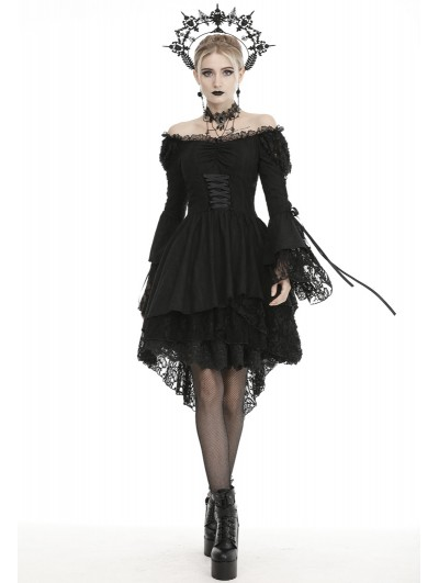 Dark in Love Black Gothic Decadent Off-the-Shoulder Long Sleeve Cocktail Party Dress