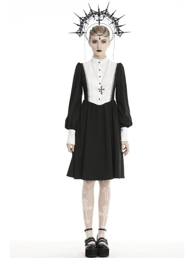 Dark in Love Black and White Gothic Nun Dolly Long Lantern Sleeve Midi Dress