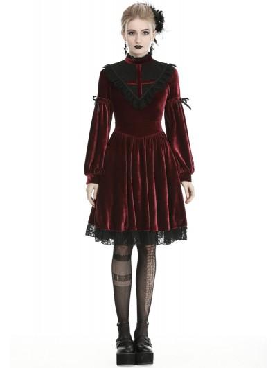 Dark in Love Dark Red Gothic Velvet Cross Long Lantern Sleeve Midi Dress