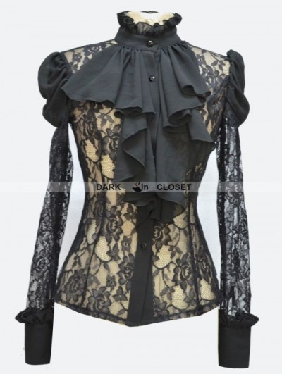 Pentagramme Black Rose Lace Bowtie Sexy Gothic Blouse for Women