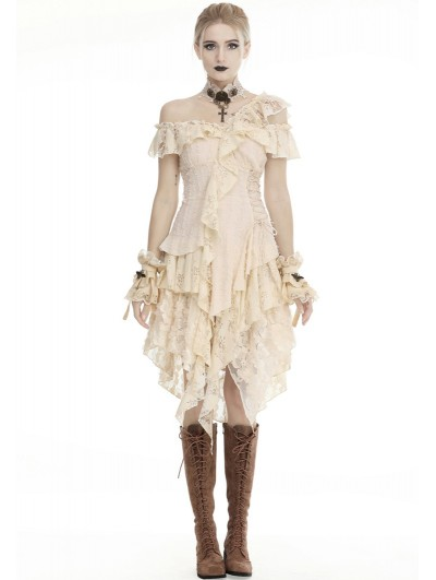 Dark in Love Ivory Steampunk Gothic Asymmetric Frilly Lace Dress