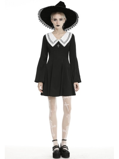 Dark in Love Black and White Cute Gothic Grunge Long Sleeve Short Daily Wear Dress