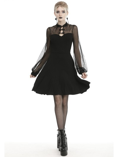 Dark in Love Black Vintage Sexy Gothic Butterfly Long Sleeve Short Dress
