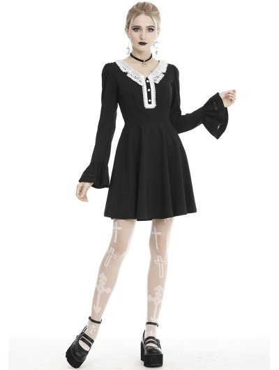 Dark in Love Black and White Gothic Grunge Long Sleeve Daily Wear Short Dress