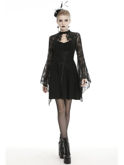Dark in Love Black Gothic Elegant Lace Long Trumpet Sleeve Short Dress