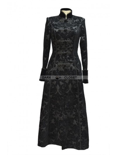 Pentagramme Black Printed Pattern Double-Breasted Gothic Long Coat for Women