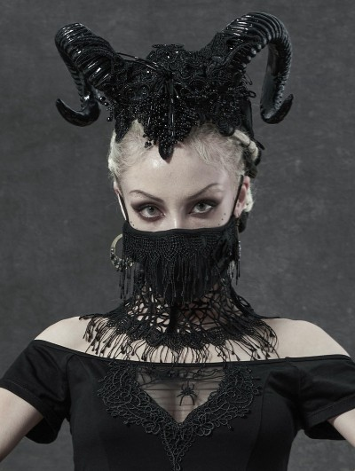 Punk Rave Black Daily Wear Gothic Lace Mask for Women