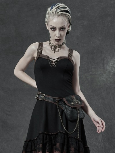 Punk Rave Black Gothic Steampunk Retro Waistbag for Women