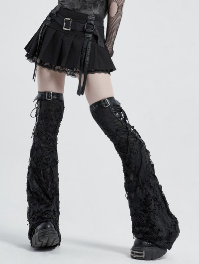Punk Rave Black Gothic Punk Decadent Shabby Leg Sleeve for Women