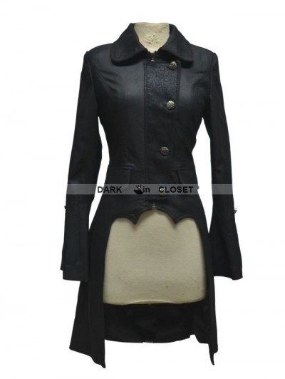 Pentagramme Black Long Sleeves High-Low Gothic Jacket for Women