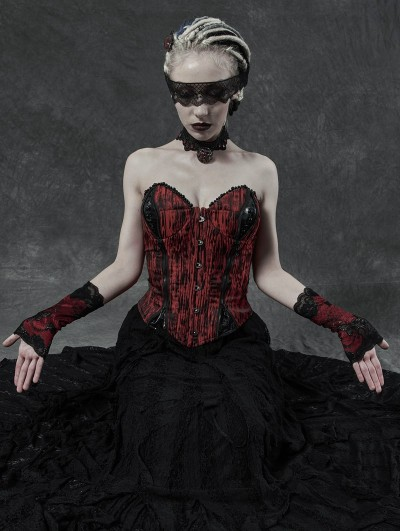 Punk Rave Black and Red Gothic Daily Wear Lace Gloves for Women