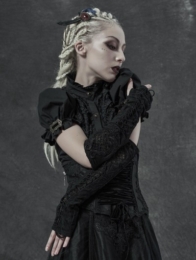 Punk Rave Black Gothic Gorgeous Embroidered Lace-up Sleeve Gloves for Women