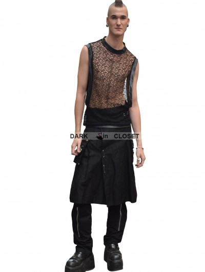 Pentagramme Black Net Sleeveless Gothic Shirt for Men