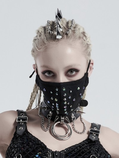 Punk Rave Black Gothic Punk Dazzle Rivet Mask