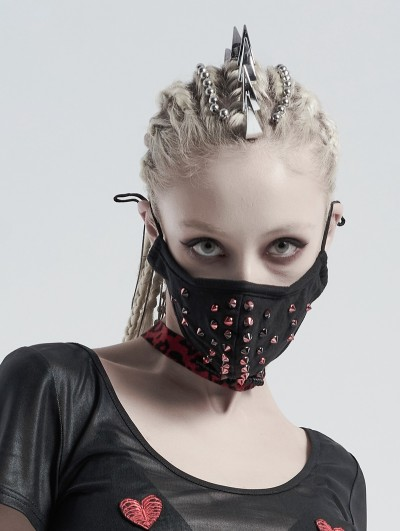 Punk Rave Black and Red Gothic Punk Dazzle Rivet Mask