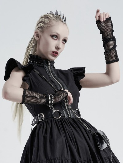 Punk Rave Black Gothic Daily Wear Mesh Gloves for Women