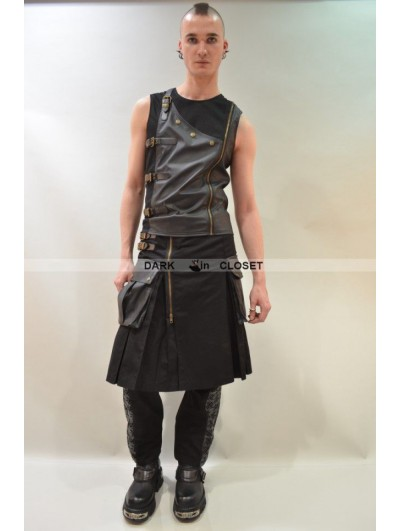 Pentagramme Black Sleeveless Buckle Belt Gothic Top for Men