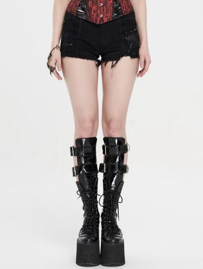 Punk Rave Black Gothic Punk Rivet Hot Shorts for Women