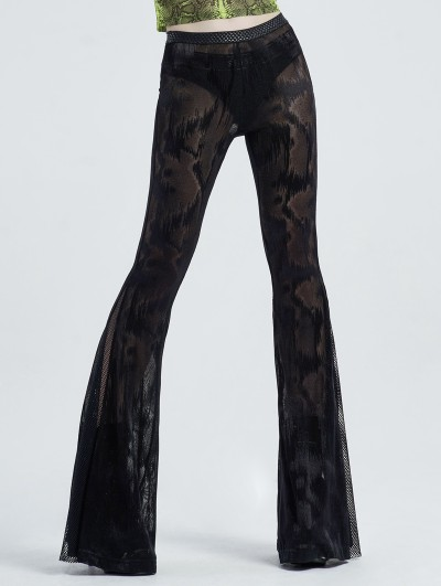 Punk Rave Black Sexy Gothic Dark Fringe Flared Trousers for Women
