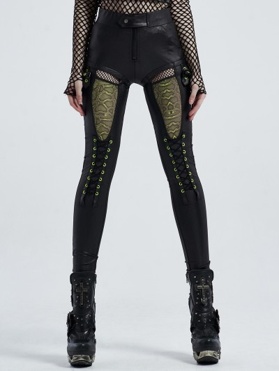 Punk Rave Black Street Fashion Gothic Hollowed-out Daily Wear Legging for Women