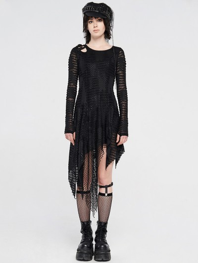 Punk Rave Black Gothic Grunge Long Sleeve Irregular Dark Striped Hole Dress