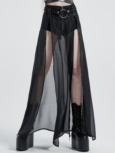 Punk Rave Black Gothic Transparent Fake Two-Pieces Long Skirt