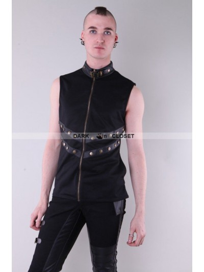 Pentagramme Black Sleeveless High Collar Gothic Top for Men