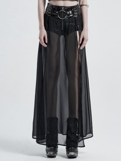 Punk Rave Black Gothic Fake Two-Pieces Long Skirt with Detachable PU Leather Belt