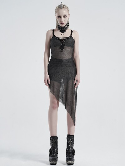 Punk Rave Black Gothic Sexy Daily Wear Asymmetric Perspective Silver Mesh Camisole for Women