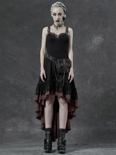 Punk Rave Vintage Steampunk High-low Dress with Detachable Bag
