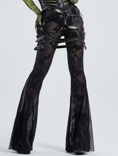 Punk Rave Black Gothic Sexy PU Leather Harness Thigh Sock Garter