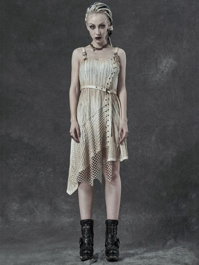 Punk Rave Ivory Vintage Steampunk Do Old Asymmetric Sleeveless Dress