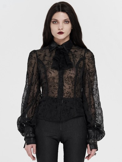 Punk Rave Black Vintage Gothic Transparant Jacquard Lantern Sleeve Blouse for Women