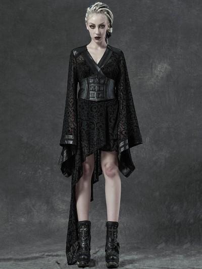 Punk Rave Black Gothic Transparant Jacquard Asymmetrical Kimono for Women