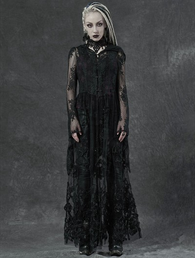Punk Rave Black Gothic Lace 3D Embroidered Long Hooded Dress Coat for Women