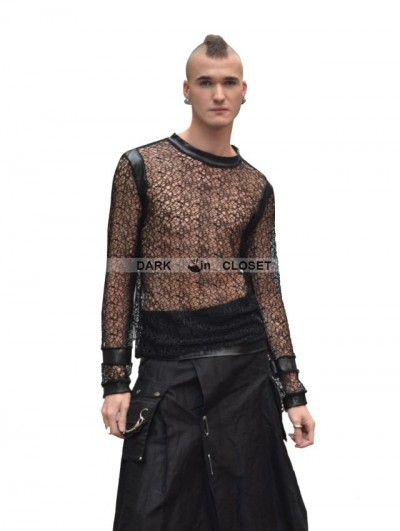 Pentagramme Black Net Long Sleeves Gothic Shirt for Men