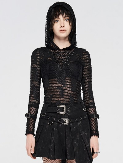 Punk Rave Black Gothic Daily Wear Perspective Long Sleeve Hooded T-shirt for Women