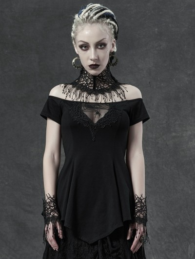 Punk Rave Black Sexy Gothic Off-the-Shoulder Spider Short Sleeve T-Shirt for Women