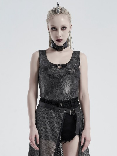 Punk Rave Black Gothic Punk Daily Wear Tank Top for Women