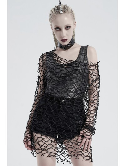 Punk Rave Black Gothic Punk Daily Wear Big Mesh T-Shirt for Women