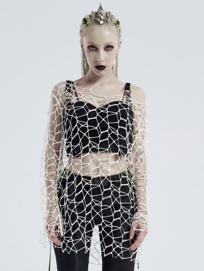 Punk Rave White Gothic Punk Daily Wear Big Mesh T-Shirt for Women