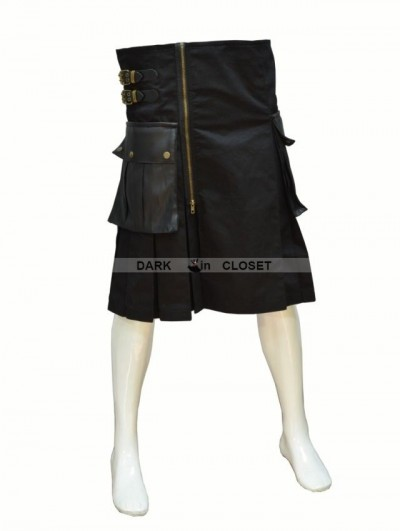 Pentagramme Black Buckle Belt Gothic Skirt for Men