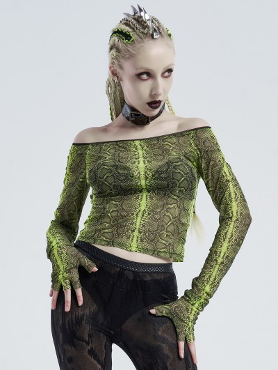 Punk Rave Green Gothic Grunge Off-the-Shoulder Transparant Long Sleeve T-Shirt for Women