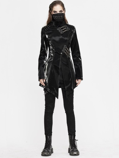 Devil Fashion Black Gothic Punk Heavy Metal Mask Long Sleeve PU Jacket for Women