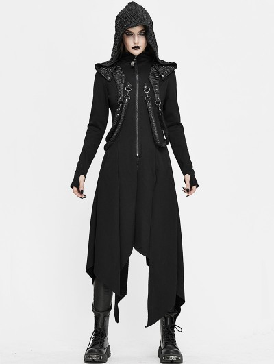 Devil Fashion Black Gothic Punk Irregular Long Sleeve Hooded Coat for Women