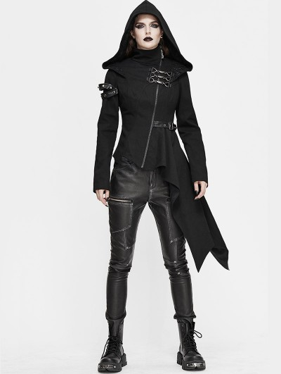 Devil Fashion Black Gothic Punk Long Sleeve Hooded Asymmetric Coat for Women